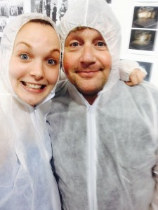 Michael and I suit up for a rehearsal of our Roman pie-throwing scene!